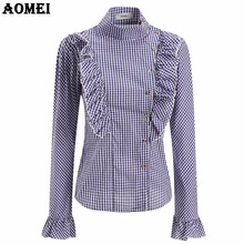 Autumn Plaid Blouse Women Elegant Shirt with Ruffle Trim Vintage Peplum Lady Slimming Design Shirts Casual Tops Clothing Blusas(China)