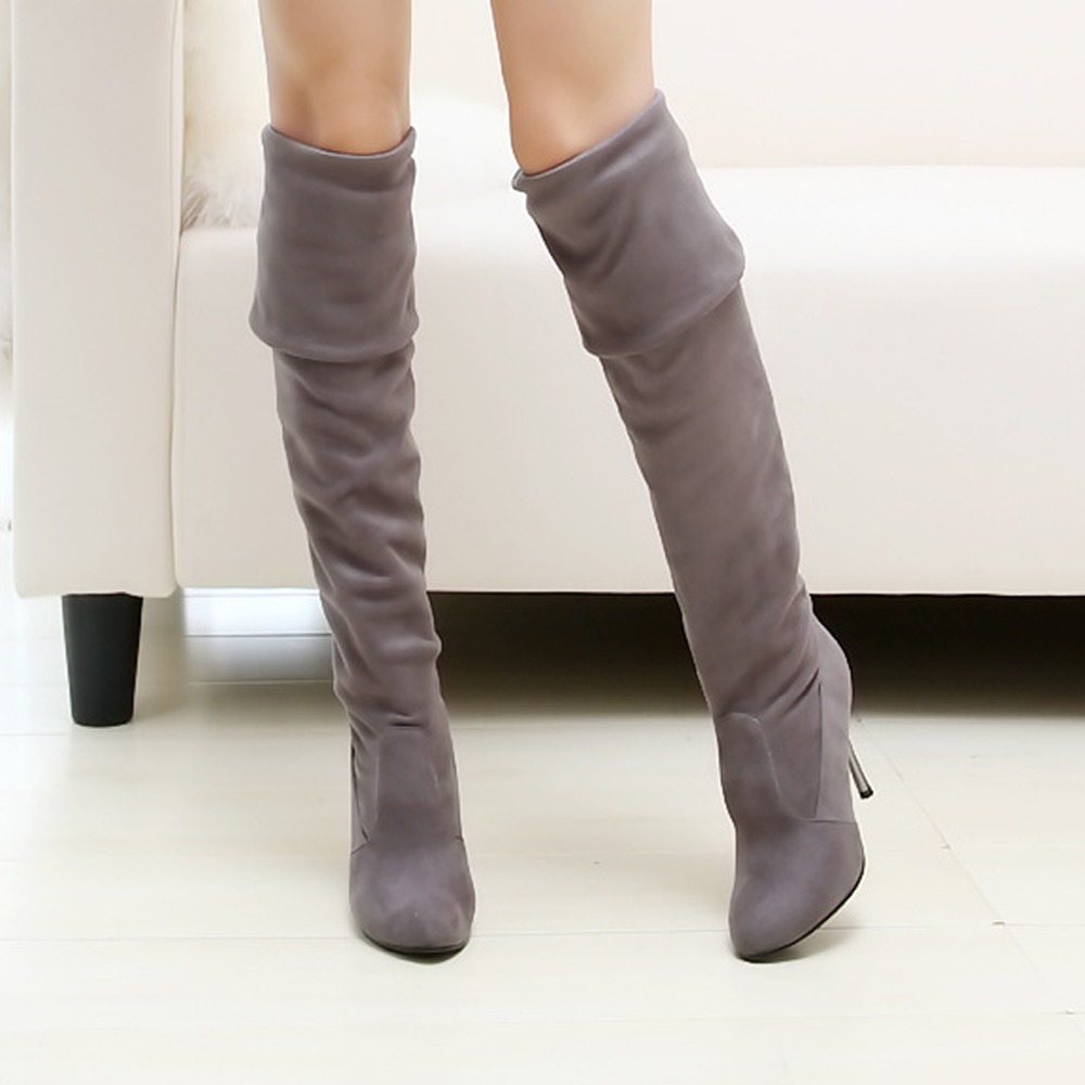New 2017 Autumn winter women boots Plus size 34-43 high heels over the knee boots pointed toe stretch thigh high boots woman<br><br>Aliexpress