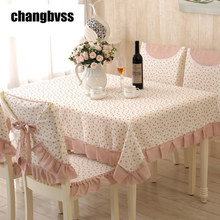2017 Party Wedding Tablecloth Flower Design Pink Table Cloth Sweet Bowknot Decor 9pcs/set Table Cover Tablecloths manteles