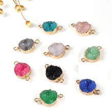 1pc Geometric Round Irregular Stone Resin Earrings Drop Ear Studs Connector Diy Making Fake Druzy Bracelet Charm Jewelry Finding