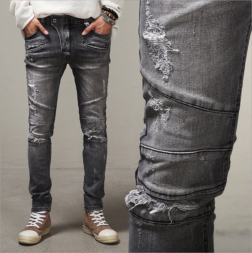 Popular Men Grey Distressed Skinny Jeans-Buy Cheap Men Grey ...
