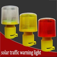 Solar Powered Traffic Light LED Safety Signal Beacon Alarm Lamp  Emergency Strobe Warning Light