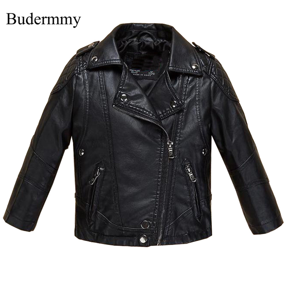 Boys Jackets Black Faux Leather Jackets 2017 New Fashion Autumn Jackets for 3 4 5 6 8 10 12 Years Boy Children Outerwear Clothes<br>