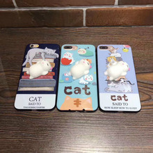 2017 Fashion 3D Cute Cartoon Soft Lazy Cat Phone Cases For Apple iPhone 6 6s 6plus 7Plus Case Fundas Soft TPU Back Cover Coque