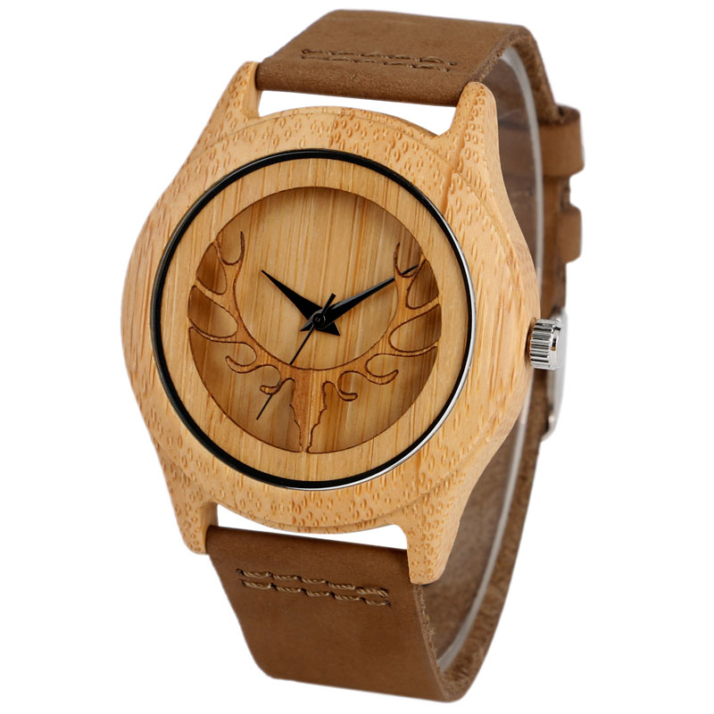 Black Moose Handmade Sandalwood Nature Wood Bamboo Deer Head Elk Genuine Leather Strap Wrist Watch Men Women Relogio Feminino<br><br>Aliexpress