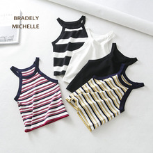 Buy BRADELY MICHELLE 2018 Summer Slim Knitted Halter Crop Top Sexy Party Cool Girl Striped Sleeveless Short Tank Tops