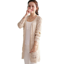 2017 Ladies Crochet Tops Fashion Women Beach Cardigan Spring Summer Hollow Out Knitted Sweaters Size Rebecas Mujer(China)