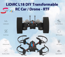 Mini RC Drone 2 in 1 Transformable RC Quadcopter Car RTF 2.4GHz 6CH 6-axis Gyro Helicopter Multi-Functional Outdoor Toys