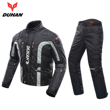 DUHAN Motorcycle Jacket Kits Windproof Protective Gear Jacket + Pants Set Hip Protector Riding Suit Motorcycle Pants Moto Jacket(China)