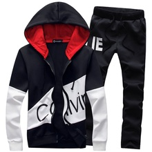 Casual sporting suit men warm hooded tracksuit track polo men's sweat suits set zipper patchwork letter print large size 5XL big(China)