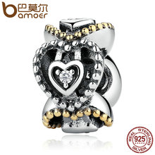 BAMOER Authentic 925 Sterling Silver Celebration Of Love, Clear CZ Bead Charms Fit Bracelets DIY Fashion Jewelry PAS392