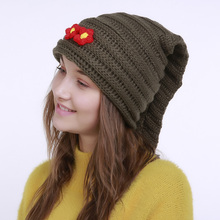 Brand Women's Knit Beanies Trendy Crochet Warm Hats for Girls Flowers Decor Thick Thermal Cap Skullies(China)