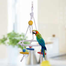 New! Pet Parrot Toy Bird Swing Cotton Hanging Durable Rope Bird Toys Suitable for All Kinds of Small Parrot