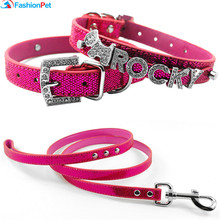 Hot Sale DIY Letters Pet Name Collar Pu Leather 10MM Personalized Necklace Collar for Dogs Pet with Matched Leash Lead