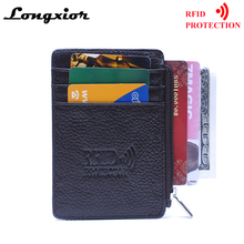 MRF13 RFID Blocking Wallet For Men Women Zipper Desgin Coin Pocket Purse Cow Leather Credit Cards Holder ID Card Window Wallets(China)