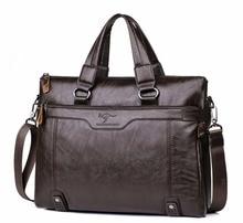 "Men Business Leather Briefcase Shoulder Messenger Bag 14"" Laptop Men's Crossbody Briefcase Bags man Handbag Messenger bags"