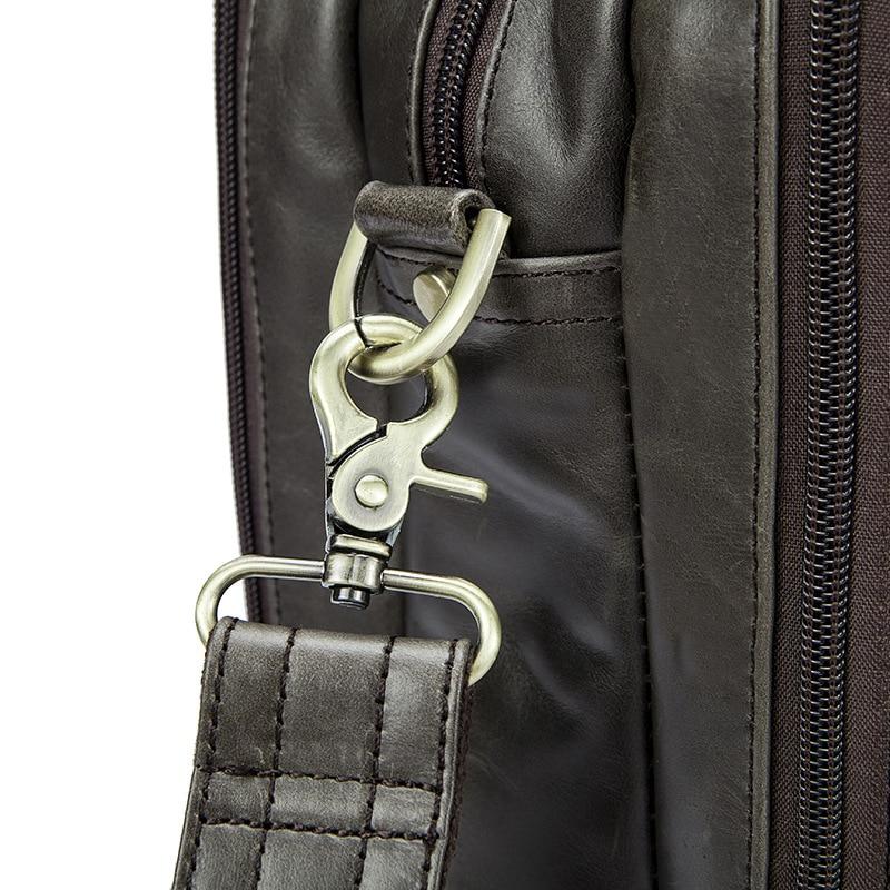 "YUESKANGAROO Genuine Leather Mens Bags Tote Crossbody Bags Men's Briefcase Laptop 15"" Messenger Bag Men's shoulder bag Leather"