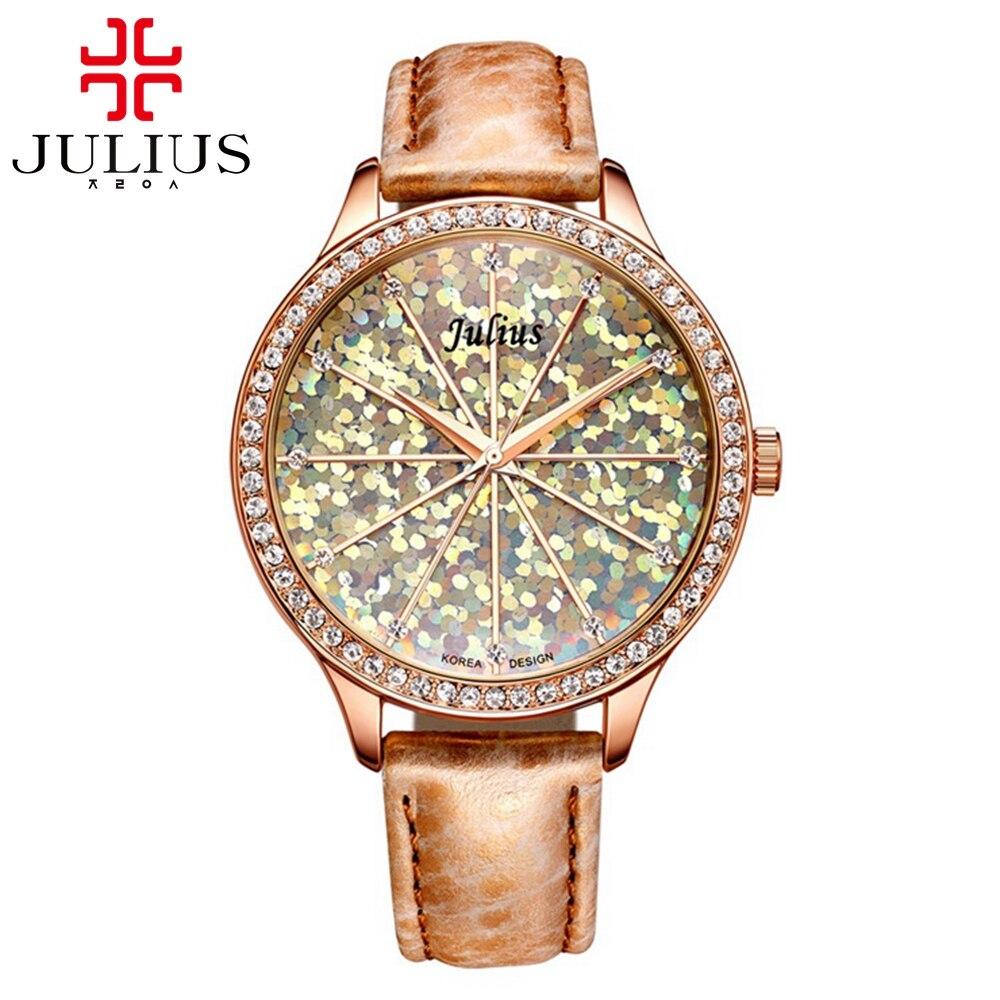 Luxury colorful bling shine stars rhinestone women best quality noble elegant ladies dream good watch Julius 791 Limited clock<br><br>Aliexpress