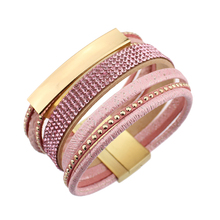 2017 Brand New Multilayer Rhinestone Leather Friendship Bohemian Magnetic Bracelet Bangle Fashion Accessories For Woman(China)
