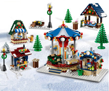 1412PCS Christmas Winter Village Market Carousel Building Blocks Bricks Toys for Children Christmas Gift Compatible Lepin 10235(China)