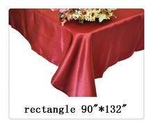 "Free shipping rectangle tablecloth size 90""*132"" color burgundy for wedding decoration/modern rectangle side table"