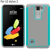 New design 2 in 1 Armor Shockproof Rubber Football grain plastic silicon case cover for LG Stylus 2 LS775 F720 Stylo 2 K520 +pen(China)