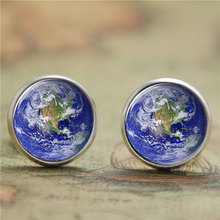 10pairs/lot Earth earring,a beautiful Planet in the Cosmos Artist earring Print Photo blue star Jewelry earring(China)