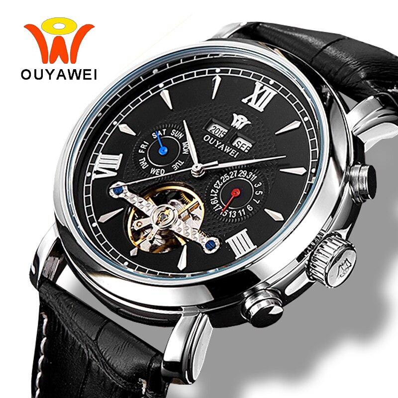 Ouyawei Men Business Tourbillon Calendar Mechanical Automatic Black Watch Self widing Auto Date Leather Wrist Watches Clock Men<br>