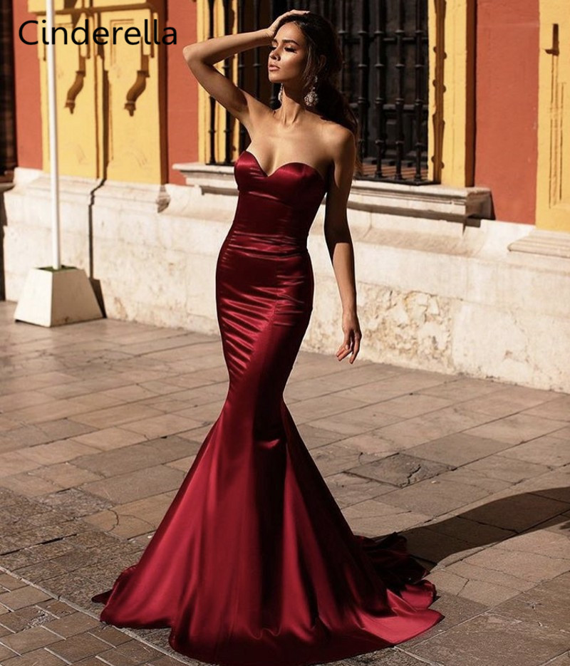 Cinderella Dark Red Sweetheart Sleeveless Court Train Mermaid Silk Satin Prom Dresses Zipper Back Court Train Party Prom Gown