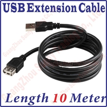 Best Price, 1000CM Long USB 2.0 Male to Female Extension Extended Black Data Cable 10M 10meter length USB Extension Cable