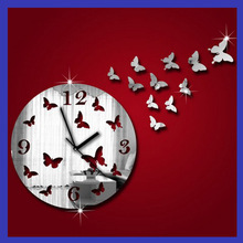 Butterfly wall clock Wall Sticker Butterfly Fantasy fashion Creative Round Art Acrylic clock(China)