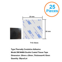 25pcs 3M9448A 20x20x0.15mm Double Coated Tissue Tape Thermally Conductive Adhesive thermal pad for heat sink heatsink radiator