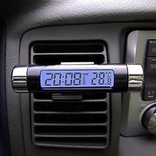 New 2in1 Car Auto LCD Clip-on Digital Backlight Automotive Thermometer Clock Calendar(China)