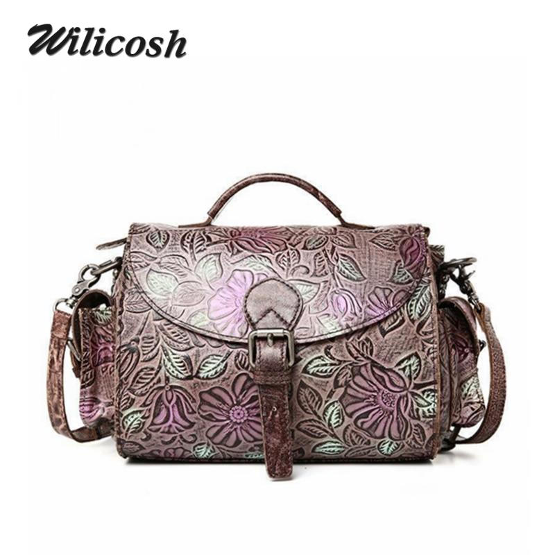2016 New Brand Genuine Leather Women Messenger Bags Women Leather Handbags Embossing Shoulder Crossbody Bags For Women DB5678<br><br>Aliexpress