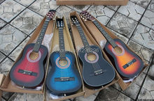 free shipping  classical guitar 30 inch child guitar single Blue, black, yellow, red, log children guitar, about 76 cm length