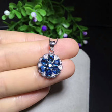 natural blue sapphire pendant S925 silver Natural gemstone Pendant Necklace trendy Elegant round Circle women party gift jewelry