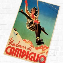 Skiing in Campiglio Italy Ski Vintage Retro Kraft Travel Poster Decorative DIY Wall Sticker Home Bar Posters Decoration Kid Gift