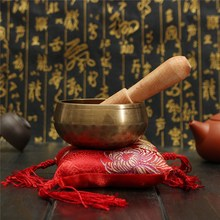 Traditional Chinese Hand Hammered Singing Bowl+Wood Sticker+Mat For Chakra Tibetan Prayer Meditation Yoga Ornament(China)