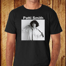 Summer Fashion Funny Print T-Shirts New Patti Smith Punk Rock Music Singer Men's Black  Size S-2XL O-Neck T Shirt Tops Tees