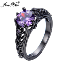 JUNXIN Purple Cubic Zircon Ring Unique Black Gold Filled Big Rings For Women Wedding Engagement Promotion Bijoux RB0391