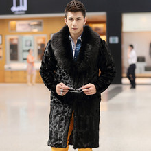 Ultra Long Mink Fur Coat For Men Winter 2017 Male Faux Fur Coats with Fox Fur Collar Men Artificial Fur Jacket Black Parka 556