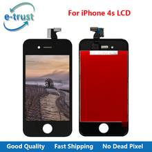 e-trust High Quality White/Black Color for iPhone 4 4G LCD Display Touch Screen Digitizer With Frame Replacement+Free Shipping