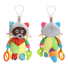 Plush Rattle Toys Animal Raccoon Baby Kids Educational Musical Soft Baby Teether Bed Stoller Hanging Soft Cartoon Toys Baby Gift(China)