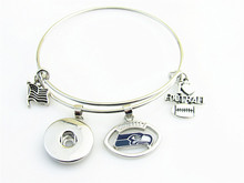 18mm Snap Button Bracelet/Bangle for USA  team logo Seattle Seahawks charm with I LOVE Baseball Floating Dangel Charm