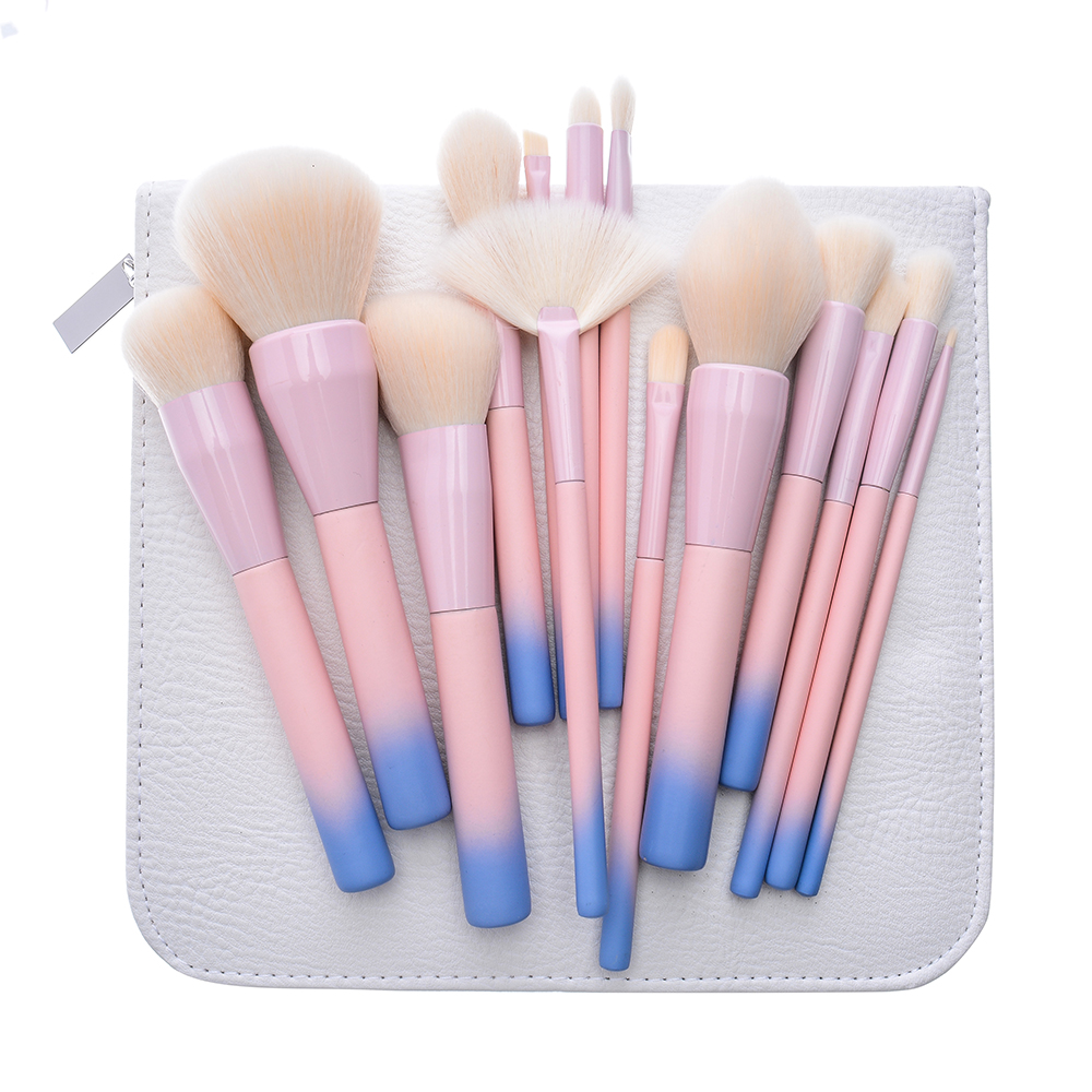 14pcs Gradient Color Makeup Brush Professional Makeup Brushes Set Cosmetic Brush Set with Leather Bag Pink <br>