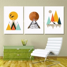 2017 New Hot Sale Mountain Sunrise Nordic On Canvas Painters Wallpapers Living Room Wall Art Children's Deocration Unframed(China)