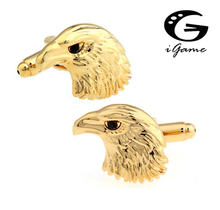 iGame Factory Price Retail Lovely Animal Cufflinks For Men Copper Material Totem Eagle Head Design Cuff Links Free Shipping