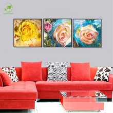 Modular Board Canvas Oil Paint 3pcs Pink Rose Picture Framed Bright Flowers Room Wall Art Paint Landscape Poster Prints Art