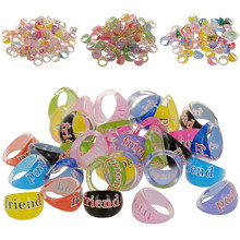 10Pcs Wholesale Mixed Lots Rings for Girls Celebrity Fashion Colorful Lovely Resin Cartoon Girls Princess Rabbit Ring Jewelry