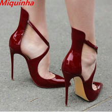 Miquinha Wine Red Patent Leather High Heels Shoes Sexy Pointed Toe Cross-Strap Woman Pumps Gladiator Ladies Party Shoes Mujer